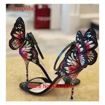 Pumps Bunte Schuhe The strap Frauen Schmetterling as Picture High Mode Sandalial Dünne Zapatos As Picture Flügel Party Freizeit Sexy Frau Ankle Heels Mujer 7qHZtE