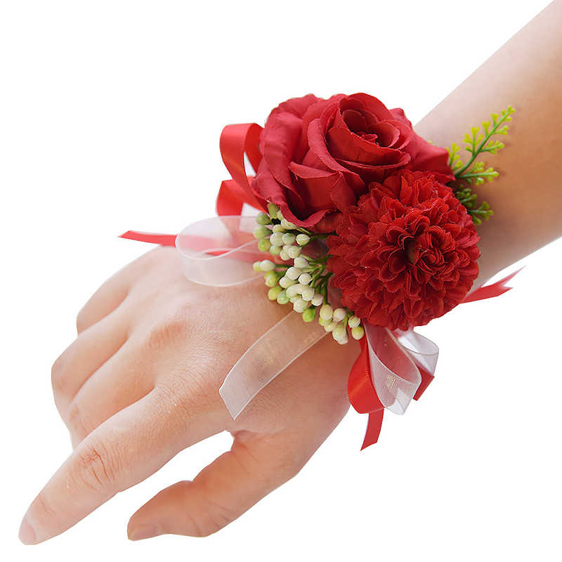 Pernikahan Pergelangan Tangan Bunga Mawar Sutra Pita Pengantin Korsase Tangan Dekoratif Gelang Gelang Bridesmaid Tirai Band Klip Buket