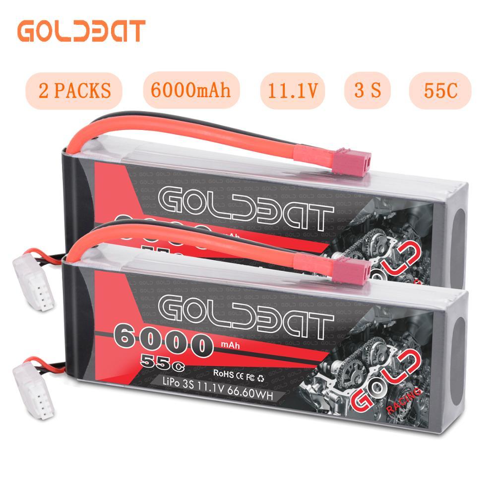 2 units GOLDBAT 6000mAh lipo Battery 11.1V RC Car 3S Lipo Battery 11.1V lipo rc Battery fpv 55C with Deans Plug for Truck Heli