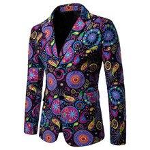 Men Suit Linen Cotton Flower Slim Fit Plaid Blazer SF