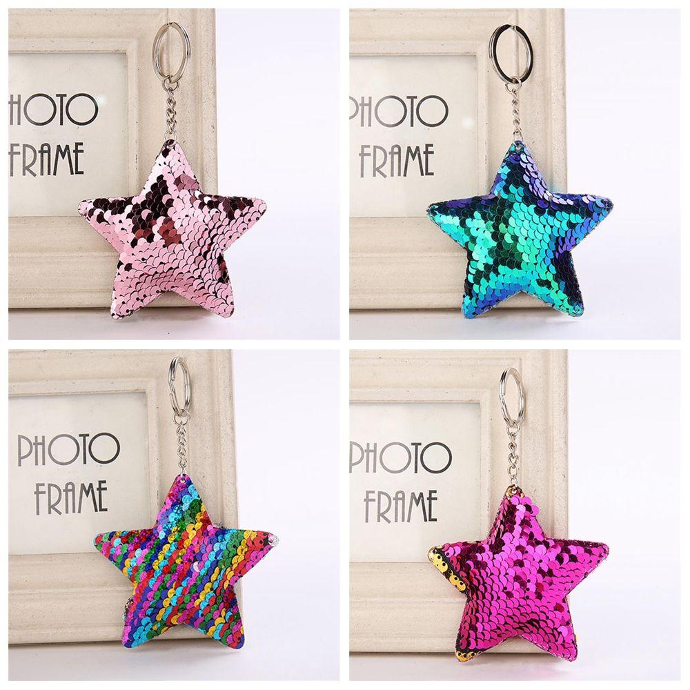 New Fashion Mermaid Sequins Handbag Pendant 1Pcs Star Shape Pattern Women Handbag Keychains Bag Accessories Kids Best Gift