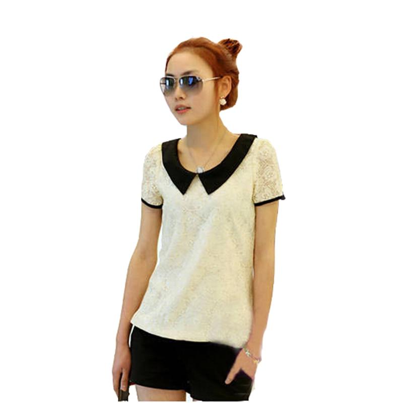 2015 Fall Korean Style Ženy T-shirt Leisure Krátký rukáv Sexy krajky háčkování Loose Moleton Tee Tops Femininos Plus velikost S-XXXL