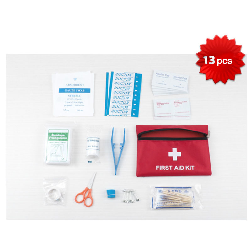 Outdoor tool 13 pcs Emergency Kits First Aid Kit Survival Camping Travel Medical Emergency Treatment Pack Set Nylon Pouch Bag