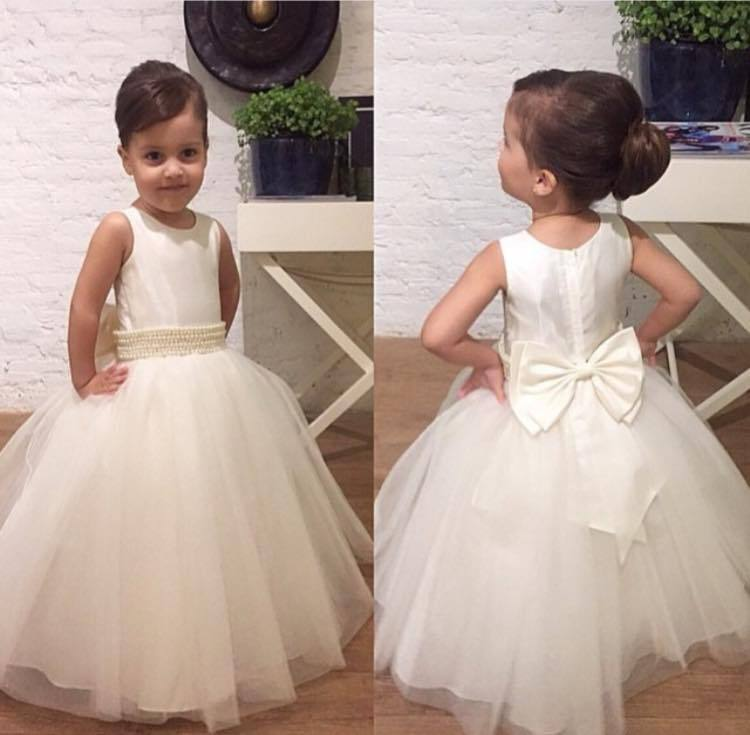 b9dfc7dc05 2017 Flower Girl Dresses Cute Wedding Party Dresses for Kids Jewel Pearls  Sash Zipper Back Bow Tie Flower Girl Dresses