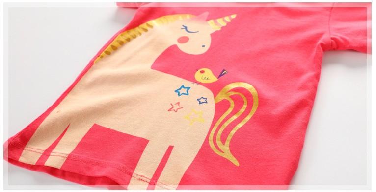 HTB180xKcLjM8KJjSZFNq6zQjFXa7 - Little maven children clothes 2018 summer baby girls clothes short sleeve tee tops unicorn print Cotton brand t shirt 50961