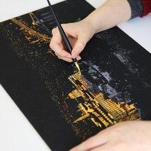Горячая картина Рисование скретч Искусство Набор с палкой скребок Ручка Черная Кисть для скретч эскиз искусство бумаги доски инструменты DIY подарок