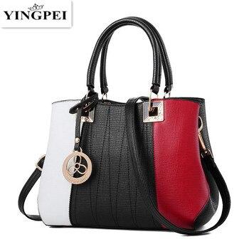 Yingpei Для женщин Сумки высокое качество Для женщин сумка модный пэчворк дизайнер дамы большой из искусственной кожи Сумка подарки