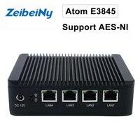 New hot selling mini pc industrial firewall pc Atom E3845 quad core VPN server computer support Linux, Pfsense AES-NI