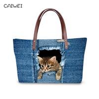 Fashion Blue Denim Pet Cat Printed Women Large Handbags Vintage Ladies Shoulder Bags For Girls Female Big Tote Bag