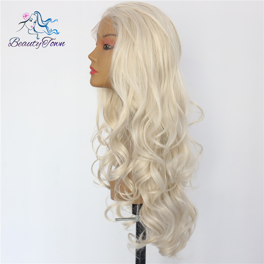 BeautyTown Wave Light Blond Color Heat Resistant Hair Hand Tied Perruque Daily Makeup Synthetic Lace Front