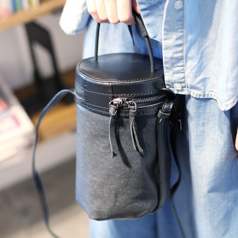 Black Sheepskin Diagonal Package Original Designer Handbags Tide Hand Retro Leather Handbag Bucket Bag Shoulder Bag