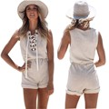 Summer 2016 Beach Girls Lace Up Jumpsuit Rompers Women High Waist Playsuit One Piece Short Casual Overalls