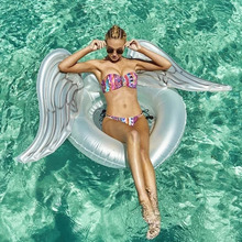 180cm Giant Inflatable Float Angel Wing Swim Ring Pool Toy Hawaii Summer Beach Party Decoration Float Mattress Gift Adult kids 220cm giant parrot inflatable pool float adult swim ring children toy flamingo pool float beach water toy air recliner mattress