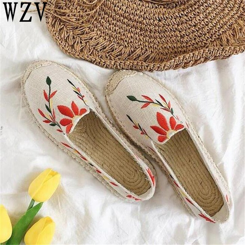 2018 Women Flats Breathable Ladies Shoes Spring embroidery Casual loafers Slip on Women Shoes Causal Shoes woman E072 odetina 2017 new women pointed metal toe loafers women ballerina flats black ladies slip on flats plus size spring casual shoes