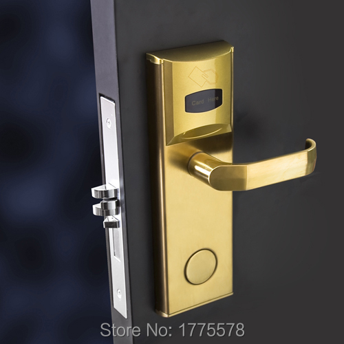 RF Card Hotel Door Lock, IC card hotel lock, Contactless smart Card hotel lock with DND and panic release function factory direct sale electric hotel lock cheaper rf card door lock