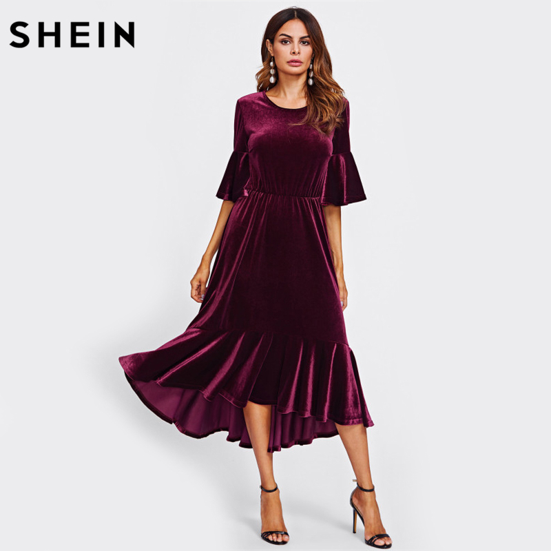 SHEIN Burgundy Trumpet Sleeve Flounce Hem Velvet Dress Fall Half Sleeve A Line Long Dress High Low Elegant Dress women s chic flounce sleeve high low hem striped dress