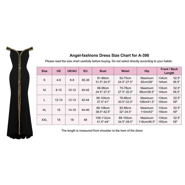 Angel-fashions Women's Off Shoulder Evening Dresses Gold Sequin Stretchy Party Dress Black 398