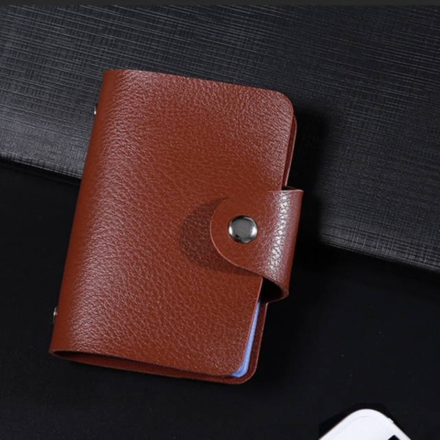 Fashion PU Leather Function 24 Bits Card Case Business Card Holder Men Women Credit Passport Card Bag ID Passport Card Wallet 4