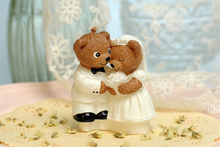 creative smokeless scented cute teddy bear couple candle for romantic Wedding party children birthday cake decorated candle gift
