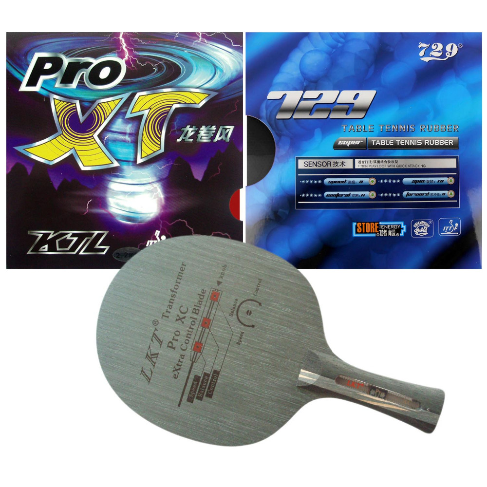 Pro Combo Racket LKT 1002 Pro XC Shakehand Blade with KTL Pro-XT and 729 SUPER FX-729 GuoYuehua Rubbers FL combo racket galaxy yinhe w 6 blade with 2x 729 super fx 729 guoyuehua rubbers shakehand long handle fl