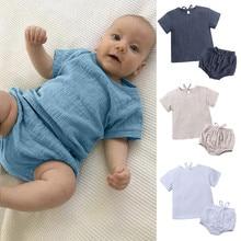 Льняная одежда для маленьких мальчиков и девочек Повседневная футболка с короткими рукавами и шорты комплекты одежды для сна от 6 месяцев до 3 лет