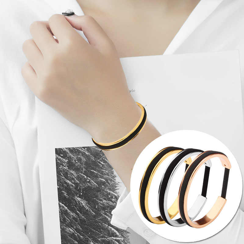 ... Fashion Hair Tie Bracelets Adjustable Open Cuff Bangles Rose Gold Color  Silver Color for Women Men d3db64c751f