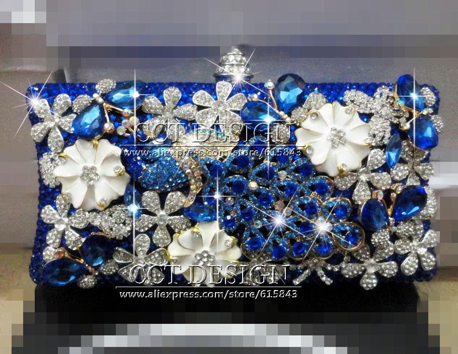 Sexy ladies royal azul pavo real del diamante bolsos de tarde del rhinestone hec