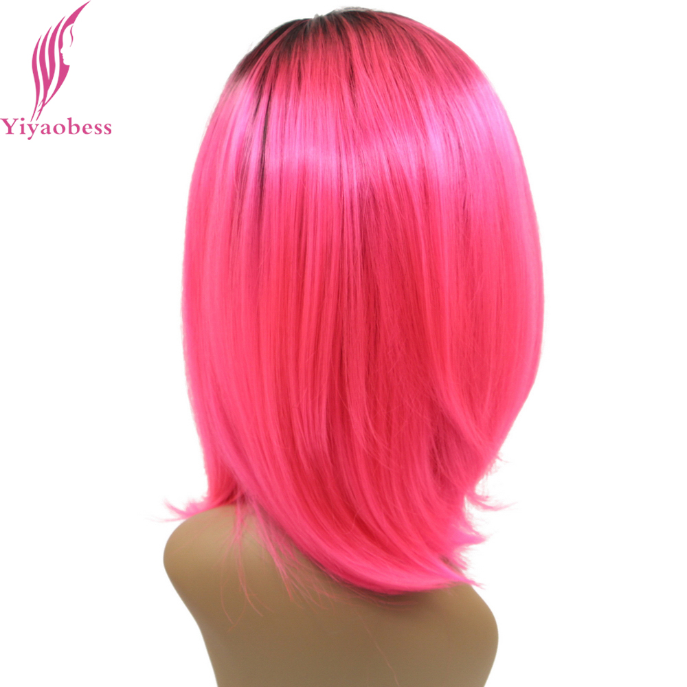 Yiyaobess 14inch Short Lace Front Wig Synthetic Black To Pink Green Ombre Bob Wigs For Women Heat Resistant Hairstyles