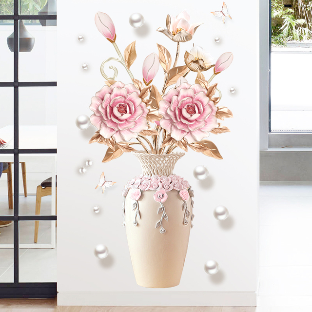 Creative Peony Flowers Vase Wall Sticker for Living Room Bedroom Decal 3D Wall Stickers Removable Wall Decoration Painting Decor 1
