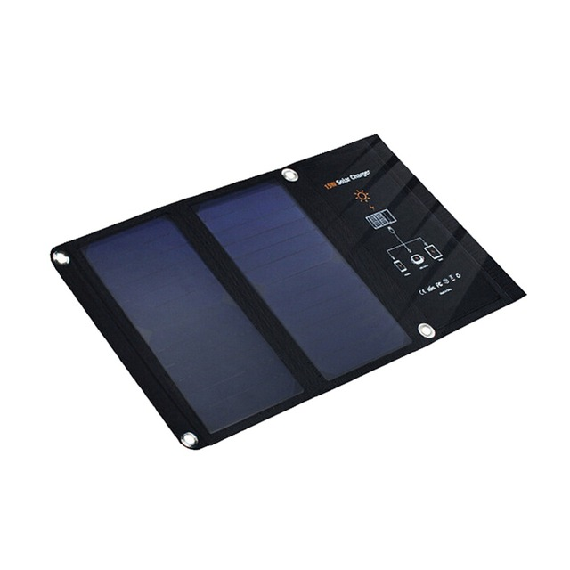 5V 15W Foldable Solar Panel Charger Portable Solar Battery Dual USB port Solar Charger for iPhone Samsung Cellphone Tablet PC