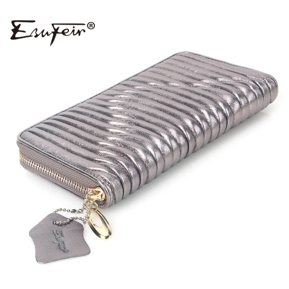 ESUFEIR Genuine Leather Women Wallet High Quality Sheepskin Standard Wallet Long Clutch Fashion Multiple Cards Holder