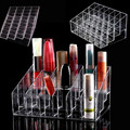 Crystal Clear 24 Trapezoid Acrylic Lipstick Stand Case Cosmetic Display Showing Shelf Organizer Storage Holder Makeup Tool Kit