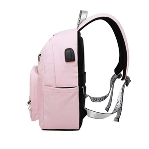 Image 3 - 受賞新ソリッドカラー印刷usb充電バックパック女性抗盗難旅行bagpackノートパソコンスクールバックパック十代の少女