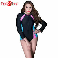 Long Sleeve Swimwear Women One Piece Swimsuit rashgard Plus Size Female one-piece swimsuit for women Zipper monokini