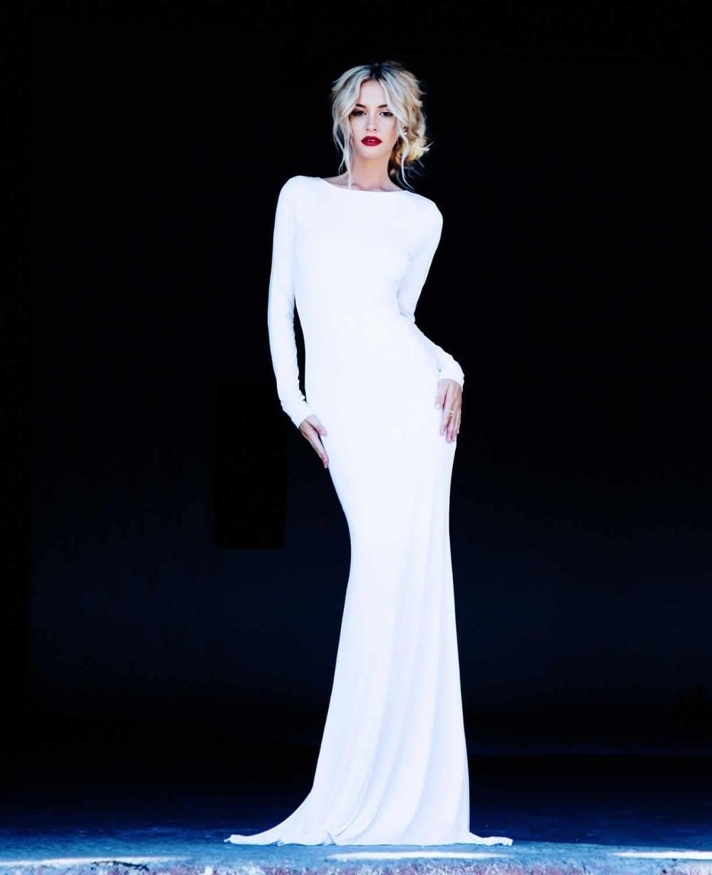 White Cheap Elegant Long Sleeves Open Back Chiffon Mermaid Formal ...