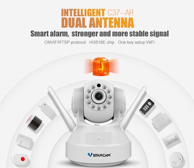 imágenes para VStarcam HD Cámara C37-AR Grabación de Audio Inalámbrico de Alarma Infrarrojo añadir Puerta/PIR Sensor de Alarma de Seguridad Sistema de Cámara IP Wifi