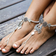 Hot Vintage Exaggerated Antique Silver Anklet Ankle Bracelet Foot Jewelry Coin Tassel Leg Chain For Women Beach Barefoot Sandals