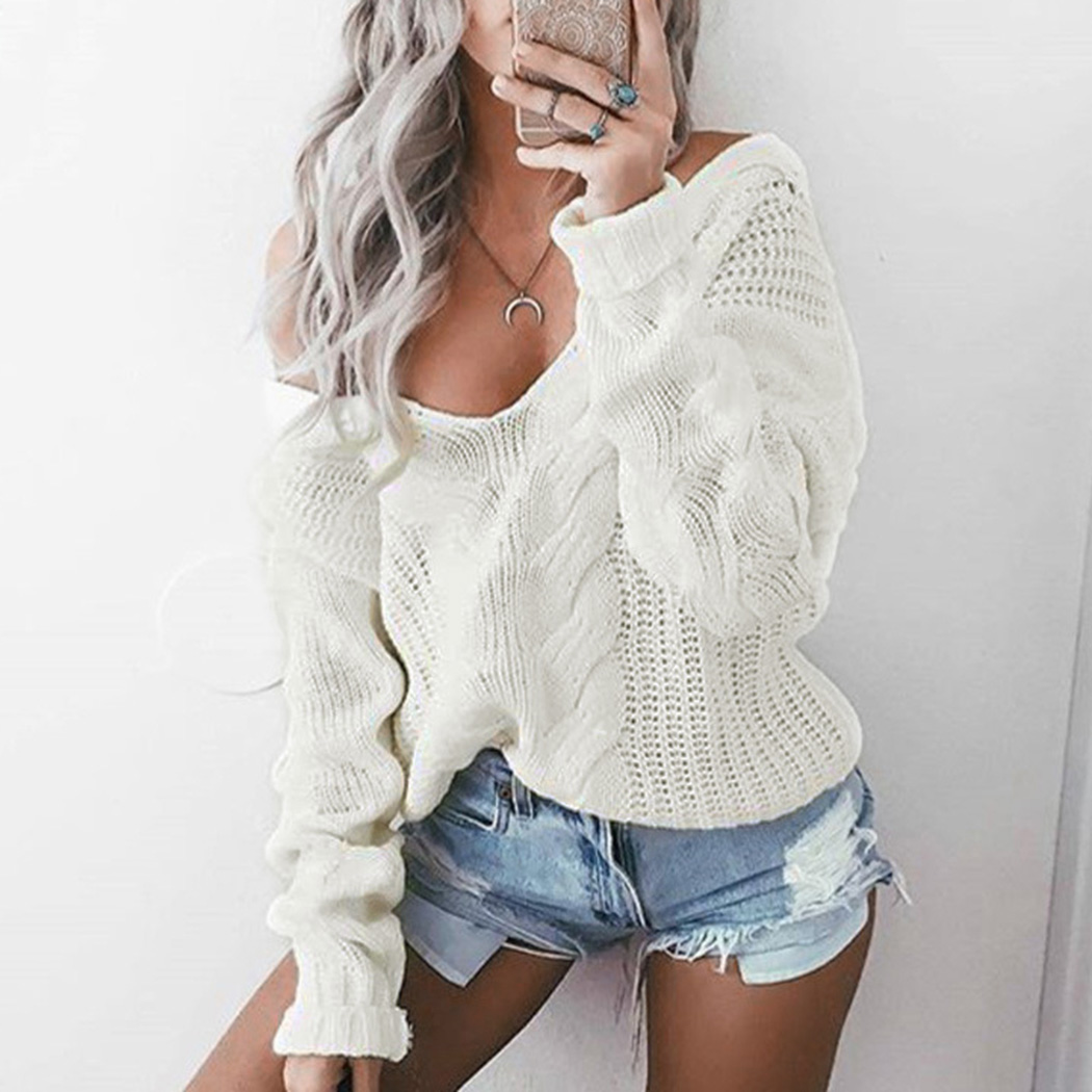 Sexy Women White Knitted Sweater V Neck Twist Hollow Pullover Top Autumn Winter Long Sleeve Jumper Black Sweaters Knitwear