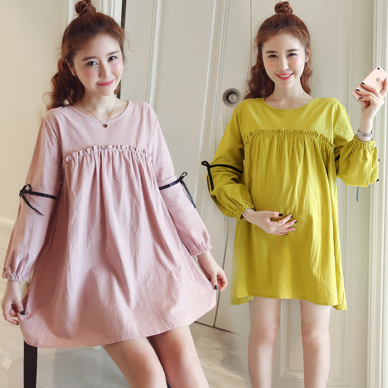 spring new han edition long-sleeved blouse maternity clothes fall with round collar base coat melting