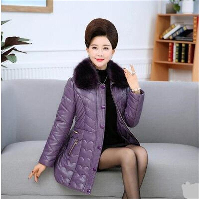 En De D'hiver Moyen Taille Veste 930 Cuir Qualité Femmes Femelle Pu Col D'âge Chaud Nouvelle Manteau Fourrure black Épaississement Haute coffee Purple Grande tPw50