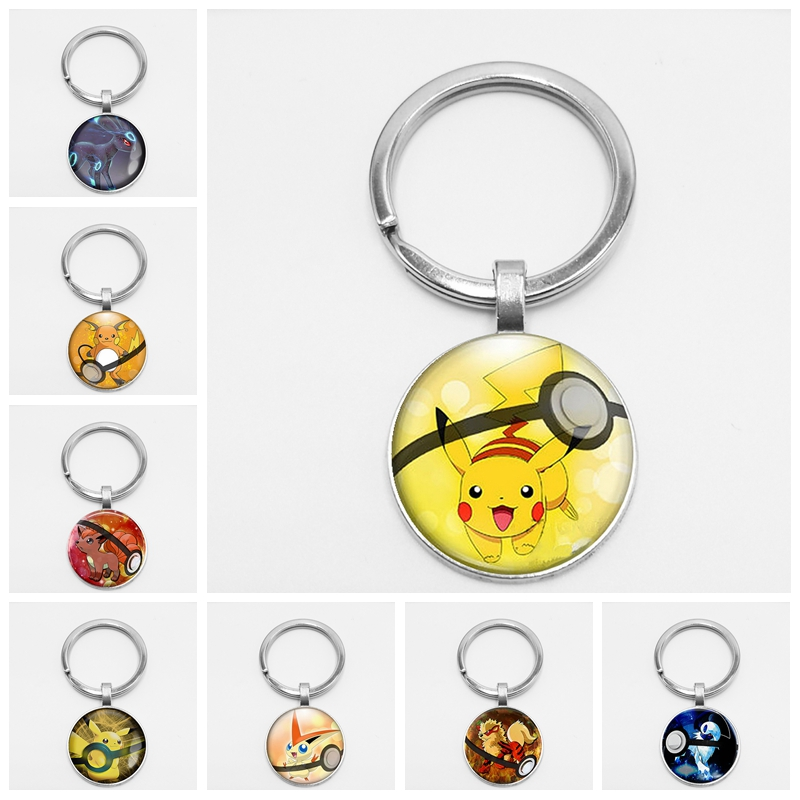 Vaporeon Pokemon Pokeball Creative Chaveiro Plated Round Vulpix Glass Dome Handmade Go Cute Key Chain Mega Keyring Gift Absol in Key Chains from Jewelry Accessories