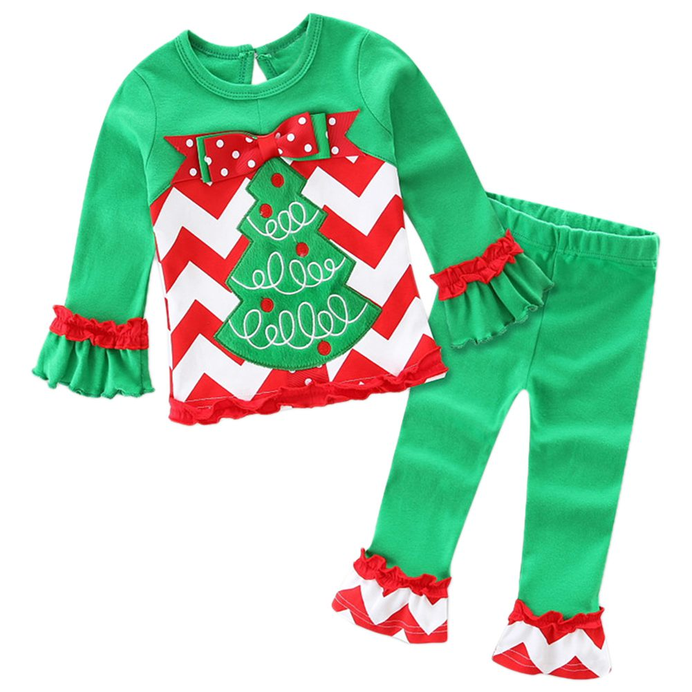 HOT SALE Christmas Baby Girl Clothes Set T-Shirt + Ruffle Pants Green+Red, 80 yards