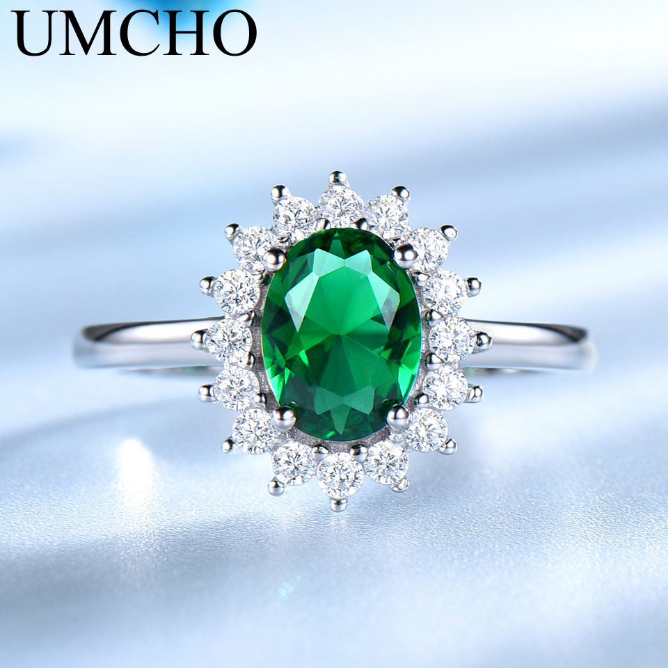 UMCHO Emerald Gemstone Rings For Women Princess Diana Ring Solid 925 - Նուրբ զարդեր