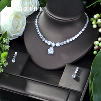 HIBRIDE Luxury Twist Women Nigerian Wedding Bride Cubic Zirconia Necklace Dubai 2PCS Jewelry Set Jewellery Addiction N 239