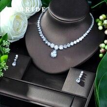 HIBRIDE Luxus Twist Frauen Nigerian Hochzeit Braut Zirkonia Halskette Dubai 2PCS Schmuck Set Schmuck Sucht N 239