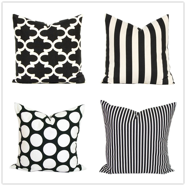 Modern Black White Stripes Outdoor Throw Pillow Cases Geometric