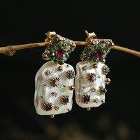 designer manually import original seiko baroque pearls natural copper set diamond stud earrings earrings adorn article