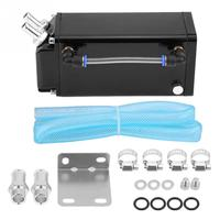1/Set Square Style Billet Aluminum Engine Oil Catch Reservoir Breather Tank Can Kit Black Racing Car Accessories Styling