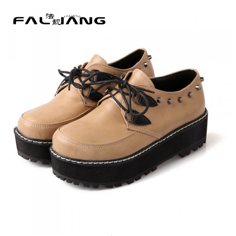 ФОТО Hot 2017 Spring Autumn New Woman Round Toe Flat Platform Creepers Female Rovet Casual Comfort Lace Up Oxford Shoes Plus Size