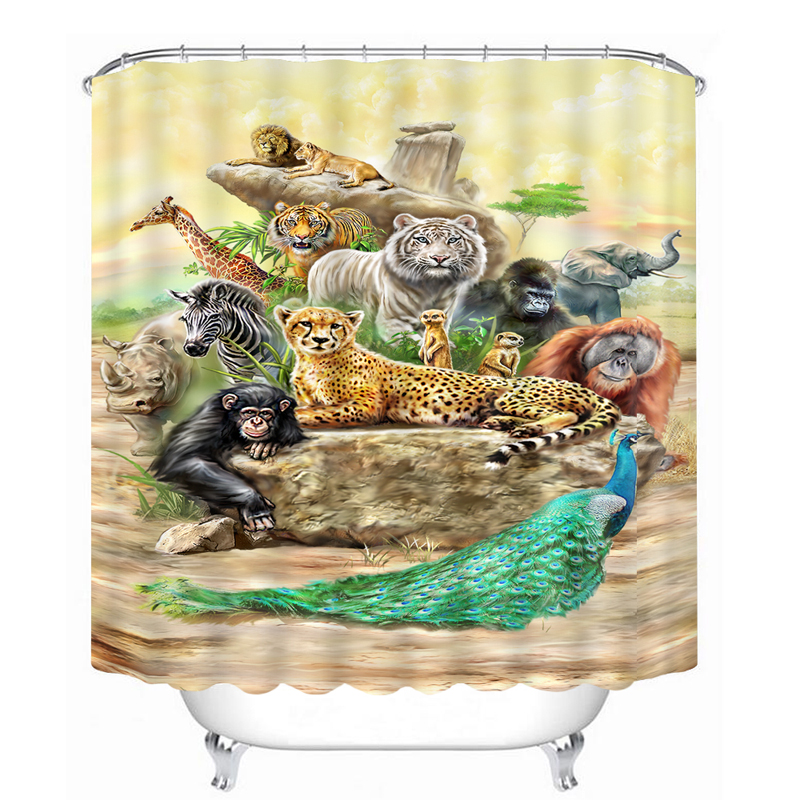 3D forest Tiger Leopard Animal Printed Shower Curtain ...